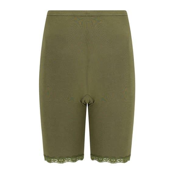 legergroen broekje met elastisch kantje van mooie zijdeachtige kwaliteit, met pijpjes tegen schurende benen