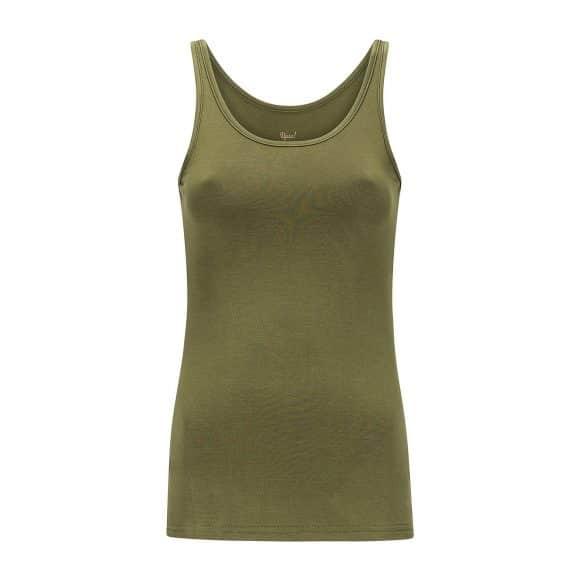 legergroen hemdje met bredere bandjes die je bh bandjes bedekken