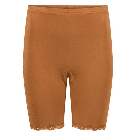 bruin broekje voorkomt met kantje schurende benen